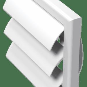 műanyag szellőzőrács gravitációs zsaluval és csőcsonkkal(fehér)
