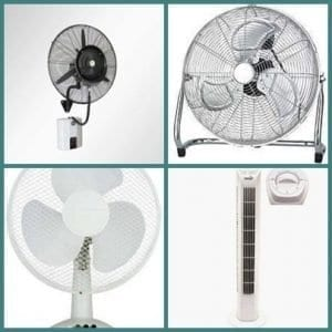 Asztali, álló és padló ventilátor