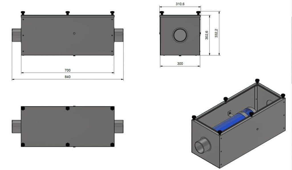 Glossy AC300 szűrődoboz méretrajz